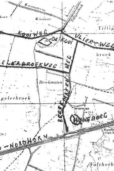 Landkaart eendenkooi in Tilligte