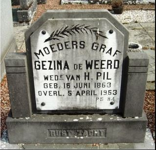 Grafsteen Gezina de Weerd wed van H Pil 1863-1953