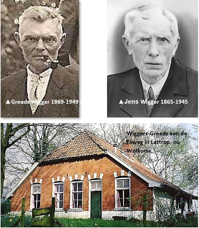 Greads Wigger (1869-1949) en Jens Wigger (1865-1945) en het Wiggers Greads aan de Esweg in Lattrop