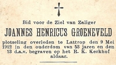 Bidprentje Groeneveld Joannes Henricus ev Maria Tijscholte Lattrop 1859-1912