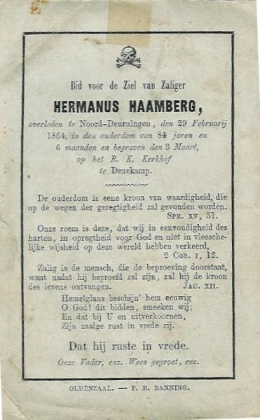 Bidprentje Haamberg Hermanus Noord-Deurningen 1780-1864