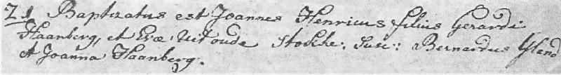 Haamberg Joannes Henricus zv Gerardus Haamberg en Eva uit oude Stokke 21-01-1799