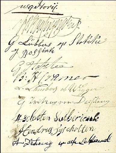 Handtekeningen akte publieke verkoop markengronden Lattrop 04-05-1844
