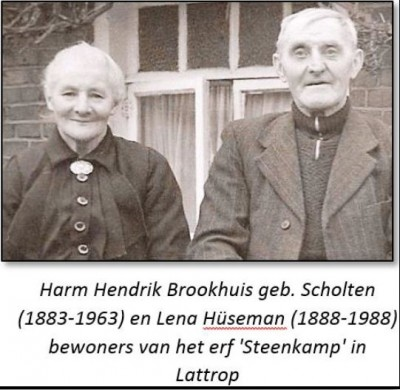 Harm Hendrik Brookhuis geb Scholten (1883-1963) en Lena Brookhuis-Hüseman (1888-1988) op 'Steenkamp' Lattrop