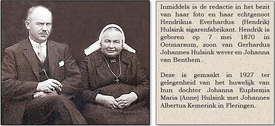 Hendrikus Everhardus (Hendrik) Hulsink 1870 en Johanna Maria Reerink Tilligte 1870 foto 1927