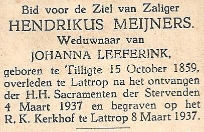 Bidprentje Hendrikus Meijners 1859-1937