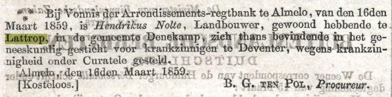 Hendrikus Nolte onder curatele gesteld (Nederlandse Staatscourant) 16-03-1859
