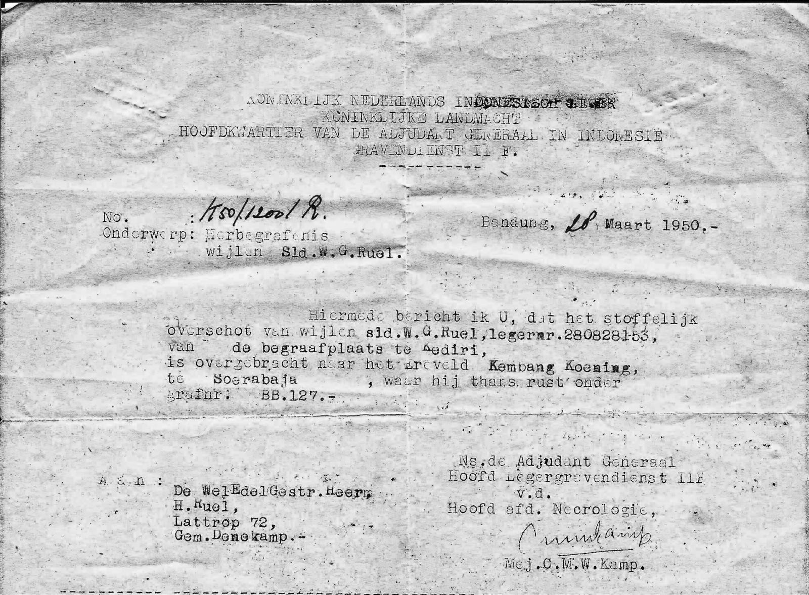 Herbegraven  Bennie Ruël naar Ereveld Kembang Koening Soebaraja 1950