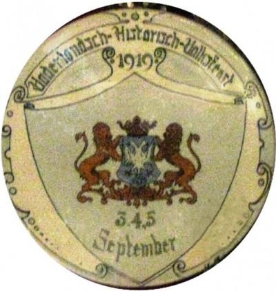 Herinneringsbord Vaderlandsch Historisch Volksfeest Arnhem 3, 4 en 5 September 1919
