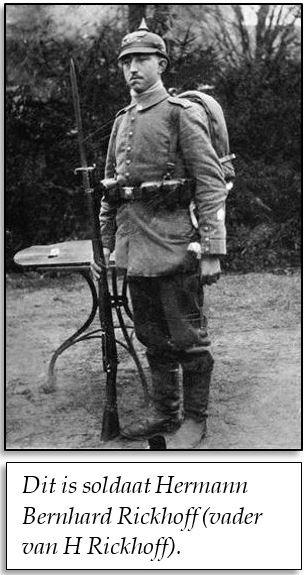 Hermann Bernhard Rickhoff 1885-1916 vader van H Rikhof als soldaat in oorlog 1914-1918
