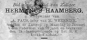 Bidprentje Hermanus Haamberg Lattrop