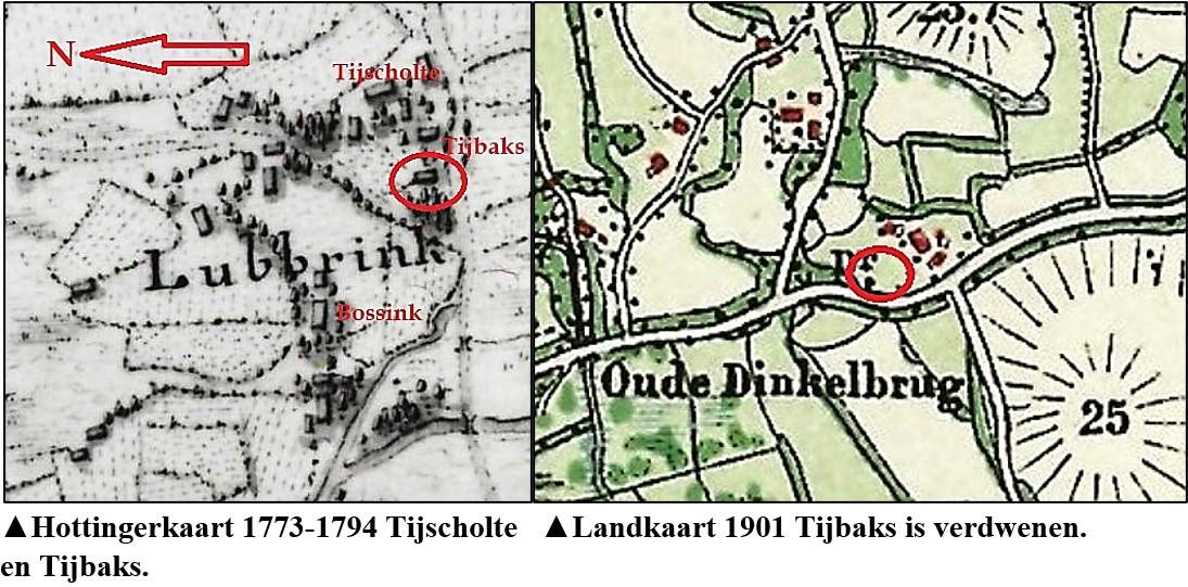 Hottingerkaart 1773-1794 en Landkaart 1901 Tijbaks Lattrop