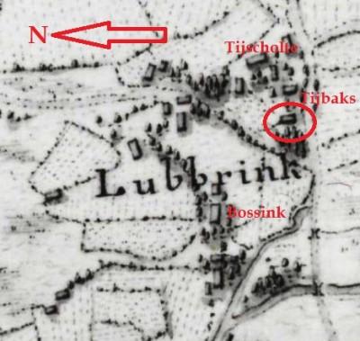 Hottingerkaart 1773-1794 Tijbaks Lattrop
