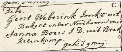 Huwelijk Geert Weberink en Janna Boers 9 mei 1773