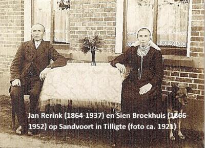 Jan Rerink (1864-1937) en Sien broekhuis (1866-1952) op Sandvoort in Tilligte (foto ca. 1921)
