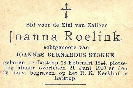 Bidprentje Joanna Roelink Lattrop