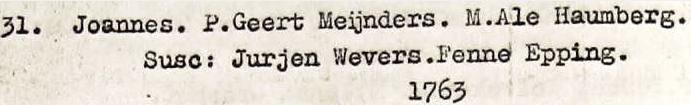 Joannes Meijnders 31-12-1762 RC doopboek Denekamp