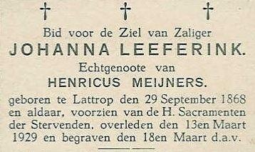Bidprentje Johanna Leeferink 1868-1929