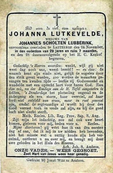 Bidprentje Johanna Scholte Lubberink op Lutkevelde in Breklenkamp 1852-1881