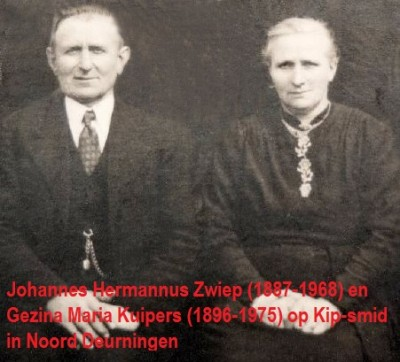 Johannes Hermannus Zwiep (1887-1968) en Gezina Maria Kuipers (1896-1975) op Kip-smid Noord Deurningen