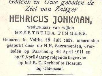 Jonkman Henricus  1837-1911 wv G Timmers