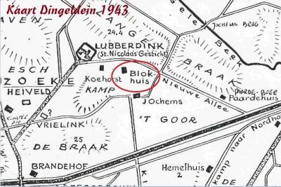 Kaart Dingeldein 1943 Blokhuis in Noord Deurningen