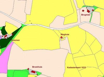 Kadasterkaart 1832 Broekhuis en omgeving Klein Agelo