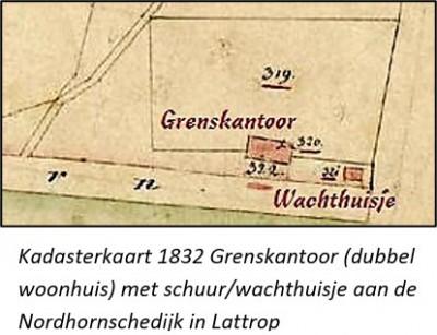 Kadasterkaart 1832 grenskantoor (dubbel woonhuis) met schuur en wachthuisje aan de Nordhornschedijk in Lattrop