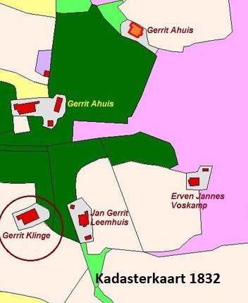Kadasterkaart 1832 Klinge en omgeving in Noord Deurningen