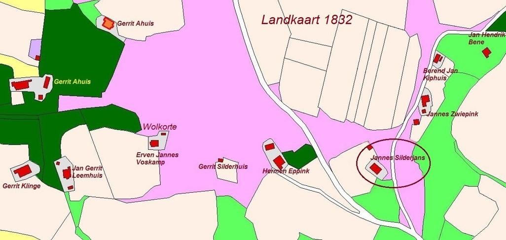 Kadasterkaart 1832 Silderjans en omgeving Noord Deurningen