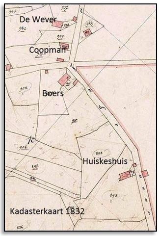 Kadasterkaart 1832 Huiskeshuis Breklenkamp