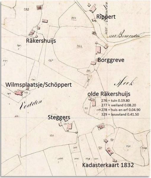 Kadasterkaart 1832 Oude Rekershuijs Tilligte