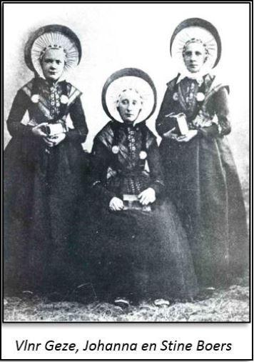 Klederdracht in Breklenkamp, gezusters Boers Foto ca. 1880