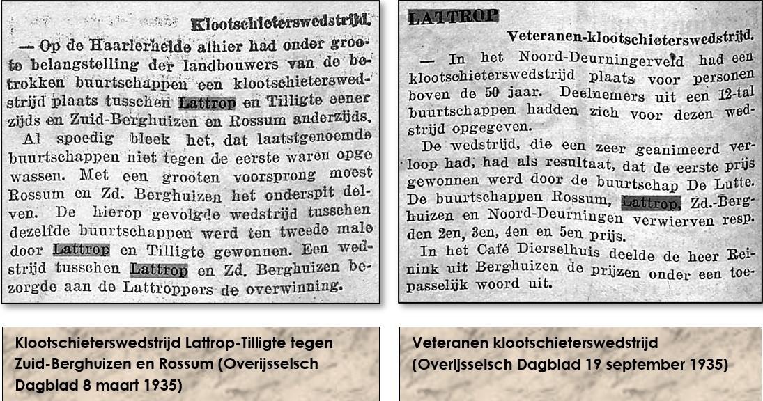 Klootschietwedstrijd Lattrop-Tilligte 8-3-1935 en veteranenklootschietwedstrijd 19-9-1935