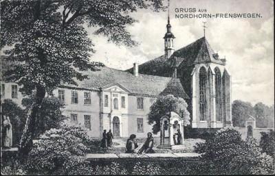 Kloster Frenswegen rechts de kerk di ein 1881 is afgebrand