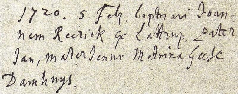Doopboek Ootmarssum 5 februari 1720