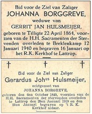 Bidprentje Johanna Borggreve en Gerardus J Hulsmeijer op Roepe in Breklenkamp