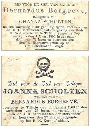 Bidprentje Bernardus Borggreve en Johanna Scholten Tilligte
