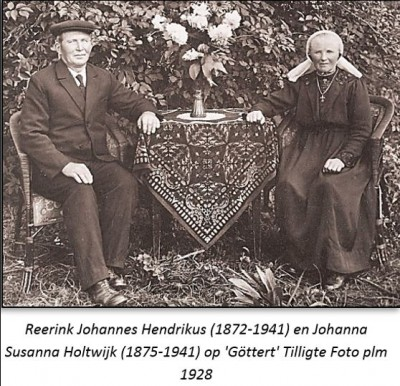 Reerink Johannes Hendrikus (1872-1941) en Johanna Susanna Holtwijk (1875-1941) op 'Göttert' Tilligte foto plm. 1928