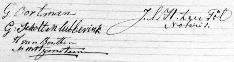 Koopcontract 'Oortman' Lattrop 9 januari 1863 door Gerhardus Scholtenlubberink