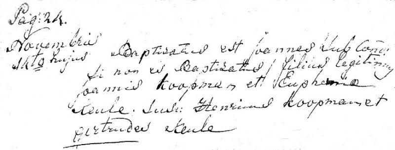 Inschrijving Jens Koopman in het doopboek van Lattrop