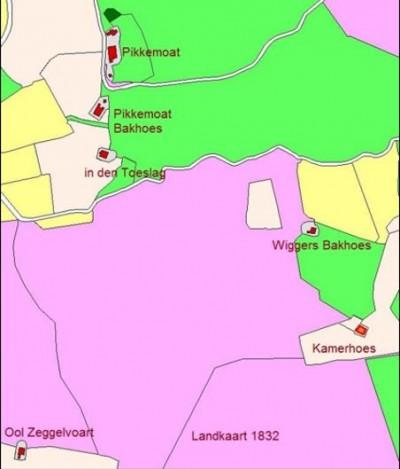 Landkaart 1832 Kamerhoes in de Rammelbeekmaten in Lattrop