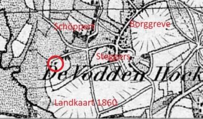 Landkaart 1860 Hutten Dika in Tilligte