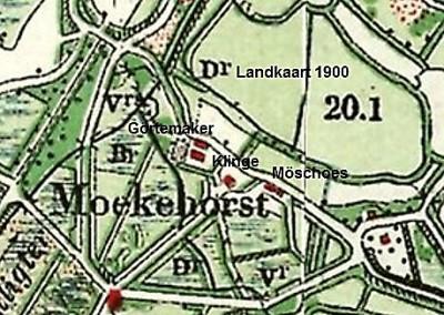Landkaart 1901 Klinge bij Moekehorst in Tilligte