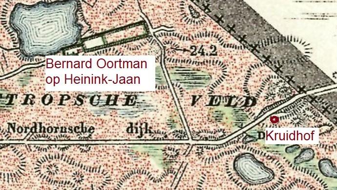 Landkaart 1901 Lattropperveld noodwoning familie Kruidhof