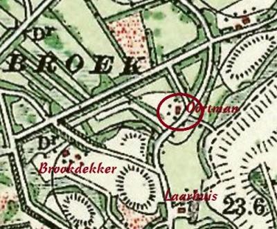 Landkaart 1901 Oortman aan het Binnenbroek in Lattrop