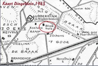 Landkaart Dingeldein 1943 Blokhuis Noord Deurningen