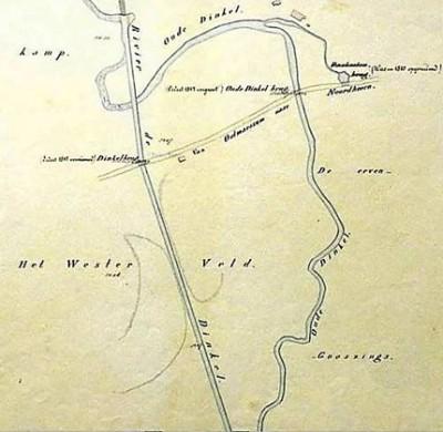 Landkaart kanalisatie Dinkel op Westerveld in Lattrop