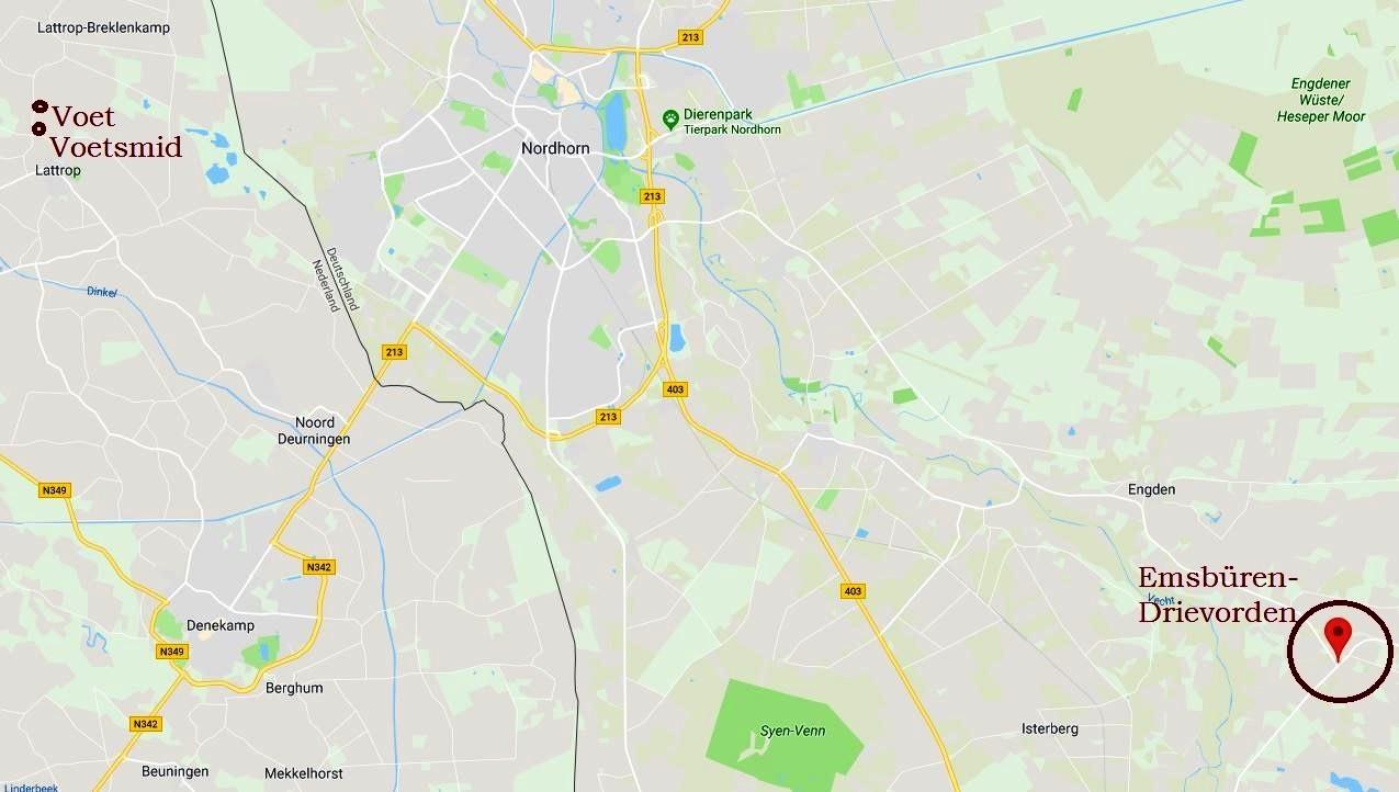 Landkaart Lattrop-Drievorden Pruissen