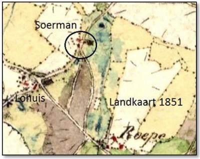 Landkaart 1851 Soerman Breklenkamp